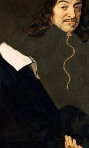 Portrait of Descartes showing head floating away on a balloon string