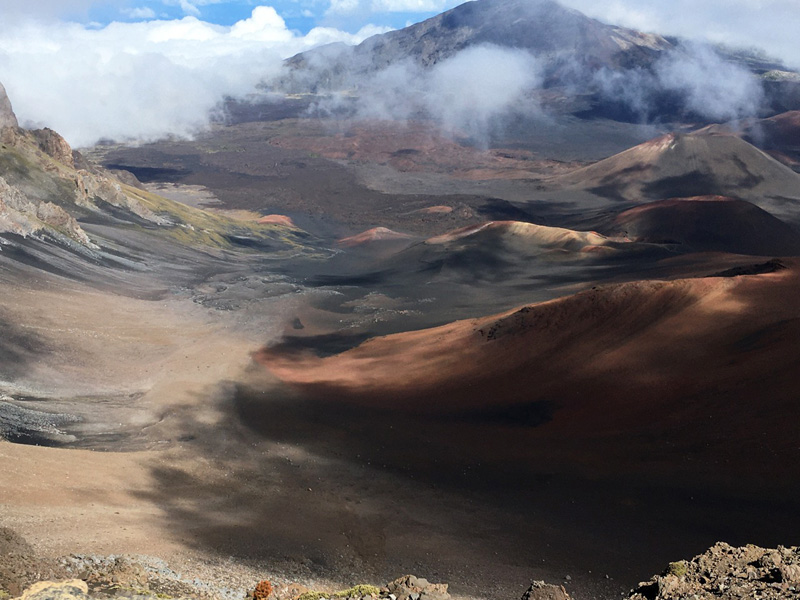 Panoramic view of Haleakala's largest crater. Description in first paragraph.