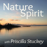 Image of a quiet sunset fading orange to deep blue, reflected in still water. The podcast title, Nature-Spirit, with Priscilla Stuckey