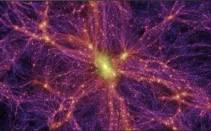 A computer-generated image of dark matter's possible distribution across millions of light-years of space.From www.bbc.co.uk.