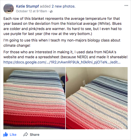 Screenshot of Katie's Facebook post showing two views of the blanket she wove for climate change education.